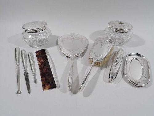Antique American Edwardian Sterling Silver Vanity Set by La Pierre