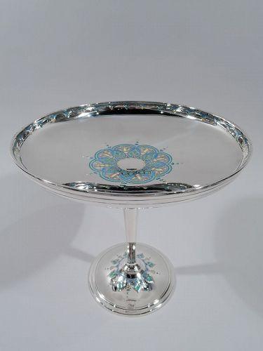 Tiffany American Art Deco Sterling Silver & Enamel Compote