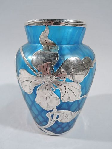 Rare and Gorgeous Loetz Art Nouveau Quilted Blue Silver Overlay Vase