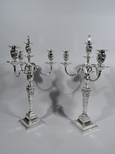 Pair of English Victorian Neoclassical 4-Light Candelabra 1890