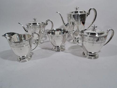 Stylish Tiffany Edwardian Regency 5-Piece Coffee & Tea Set