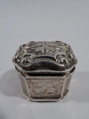 Antique Dutch Silver Peppermint Box 1879