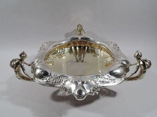 Antique Gorham Martelé Centerpiece Bowl with Pixie Fairies