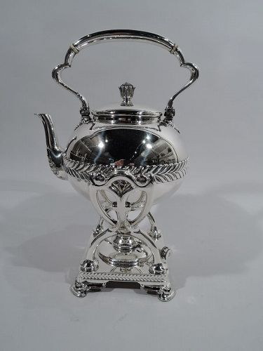 Tiffany Sterling Silver Kettle on Stand with Bold Wave Edge Motif