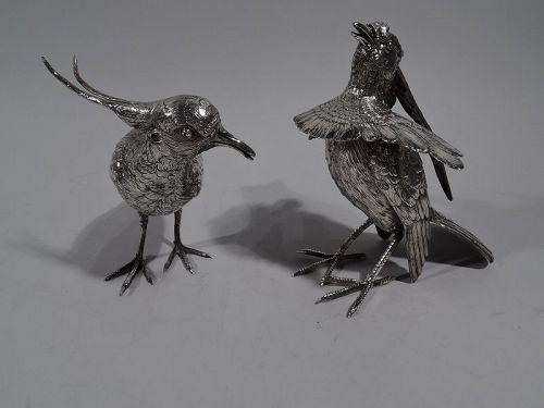Pair of Antique German Silver Game Birds