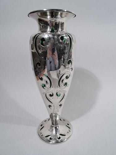 Large Antique Alvin Art Nouveau Green Silver Overlay Vase