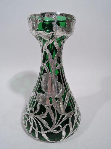 Antique Alvin Art Nouveau Green Silver Overlay Vase