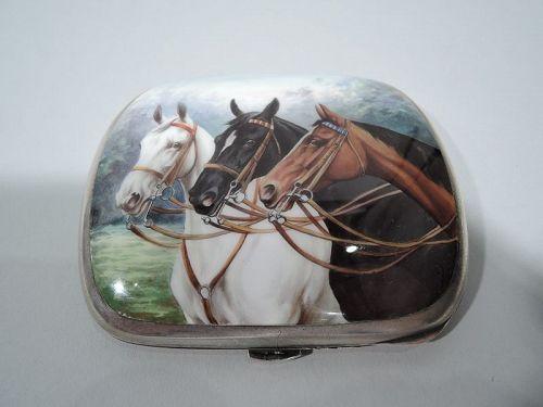 Antique Swiss Silver & Enamel Triple Horse Cigarette Case