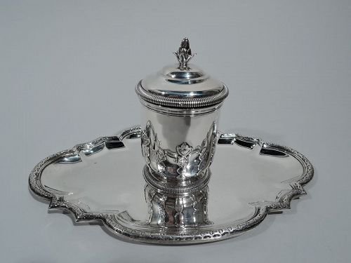 Antique French Belle Epoque Classical Silver Inkwell on Stand