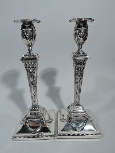 Pair of English Georgian Neoclassical Candlesticks by Scofield 1779