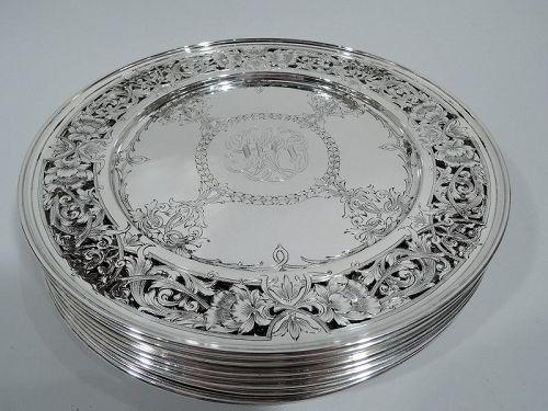 Set of 12 Pretty American Edwardian Art Nouveau Dinner Plates