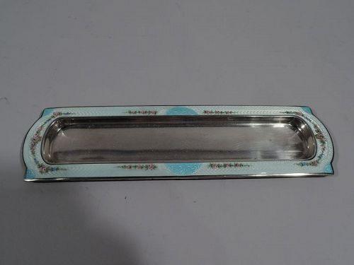 Foster & Bailey Edwardian Regency Sterling Silver & Enamel Pen Tray