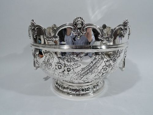 Antique English Victorian Georgian Sterling Silver Monteith Bowl 1895