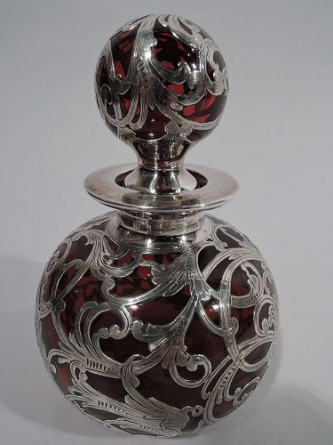 Antique American Art Nouveau Red Silver Overlay Perfume Bottle