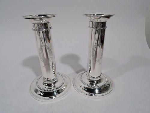Pair of American Edwardian Regency Sterling Silver Candlesticks