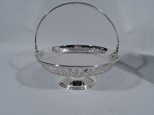 Antique Tiffany Edwardian Pierced Sterling Silver Basket Bowl