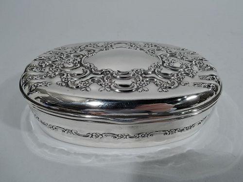 Pretty Antique Tiffany American Edwardian Sterling Silver Jewelry Box