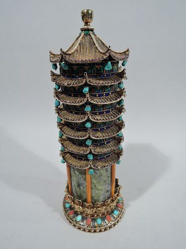Antique Chinese Silver Gilt, Enamel, and Marble Pagoda Box
