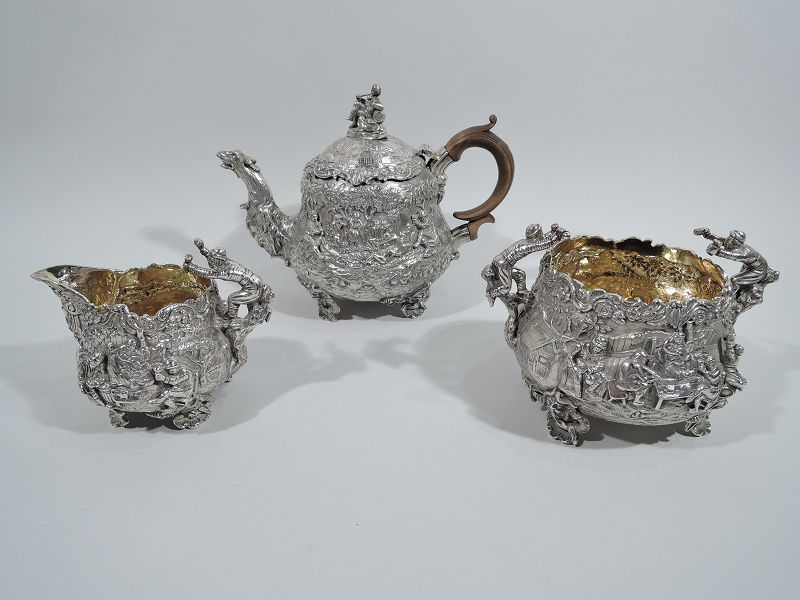 English Georgian Regency Teniers Tea Set by Edward Farrell