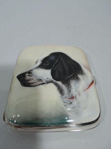 Antique European Silver and Enamel Spaniel Dog Case