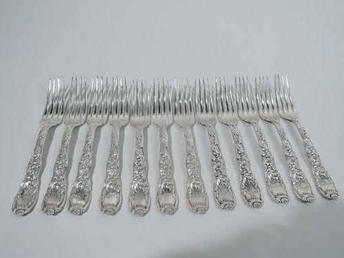 Set of 12 Antique Tiffany Chrysanthemum Sterling Silver Dinner Forks