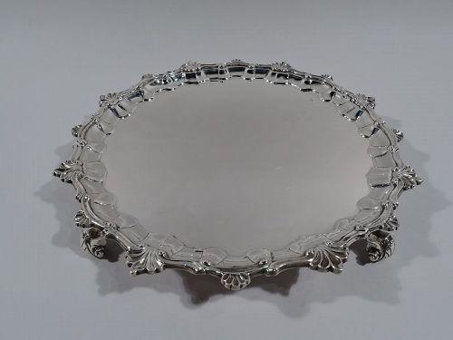 Antique English Victorian Georgian Sterling Silver Salver 1894