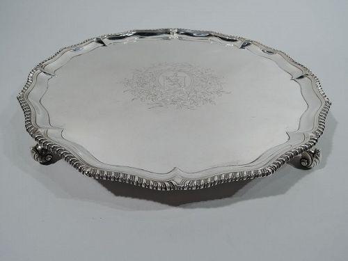 Antique English Georgian Georgian Sterling Silver Salver 1769