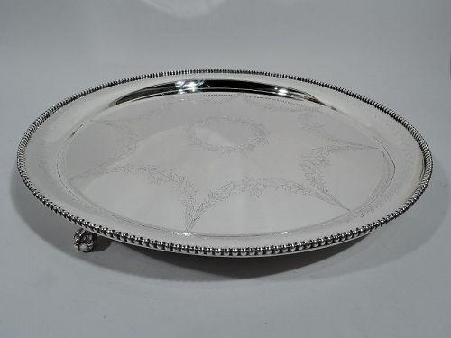 Kirk Large & Heavy Edwardian Georgian Sterling Silver Salver Tray