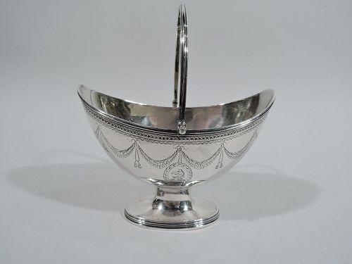English Georgian Neoclassical Sugar Basket by Hennell 1785