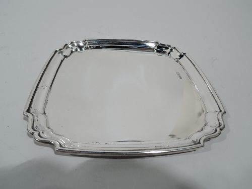 Antique English Georgian Sterling Silver Square Tray 1912