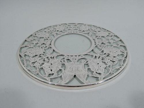 Antique American Art Nouveau Silver Overlay Trivet