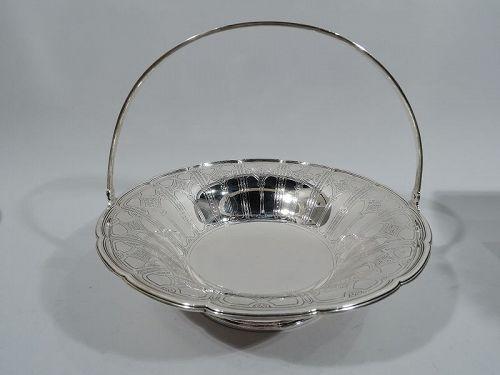 Tiffany Edwardian Art Nouveau Sterling Silver Basket C 1914