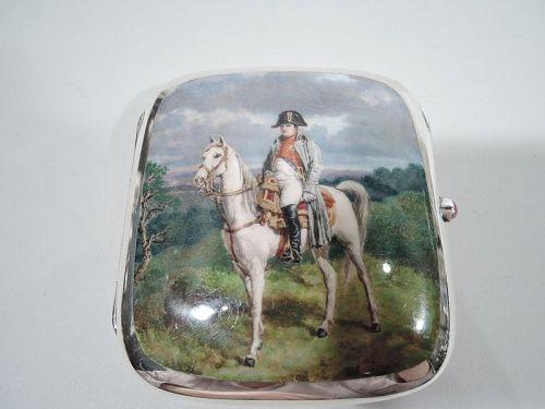 Antique Sterling Silver & Enamel Cigarette Case with Napoleon Portrait