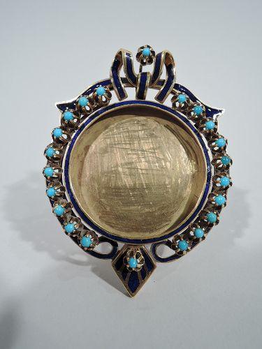 Antique European 18K Gold, Turquoise, and Enamel Boudoir Picture Frame