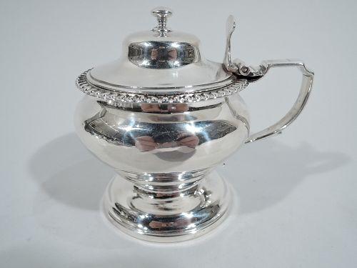 Antique English Georgian Neoclassical Sterling Silver Mustard Pot 1824
