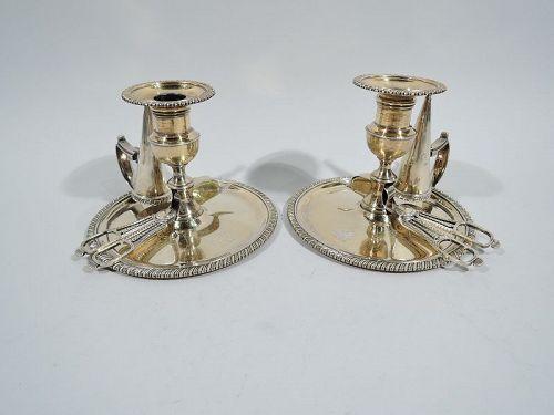 Pair of English Georgian Regency Silver Gilt Chambersticks 1819