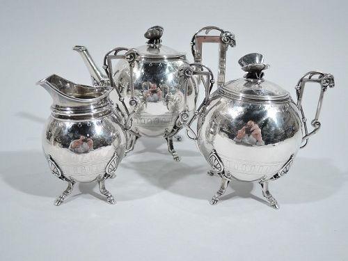 New York Aesthetic Tea Set by John Wendt for Ball, Black C 1865