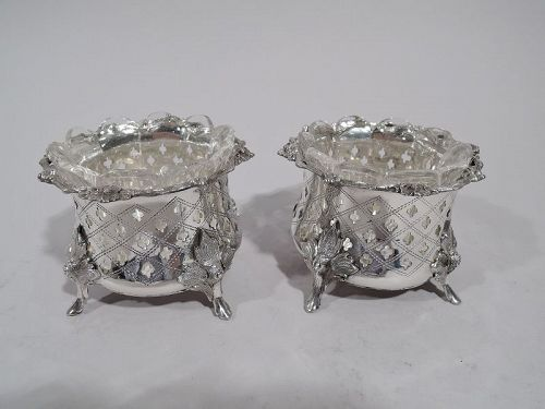Pair of Antique German Classical Silver Open Salts C 1860