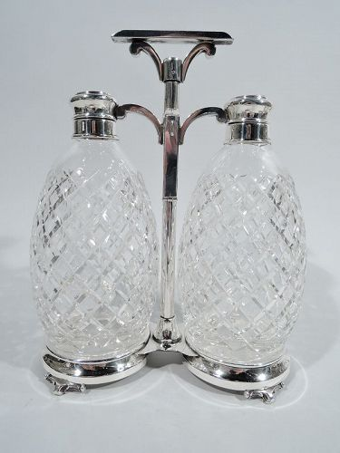 Hawkes American Sterling Silver & Cut-Glass Double Decanter Set