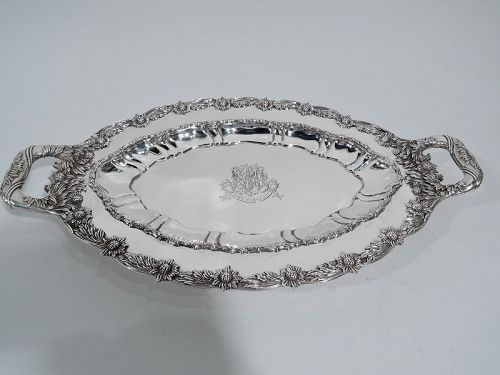 Gorgeous Antique Tiffany Chrysanthemum Sterling Silver Serving Dish