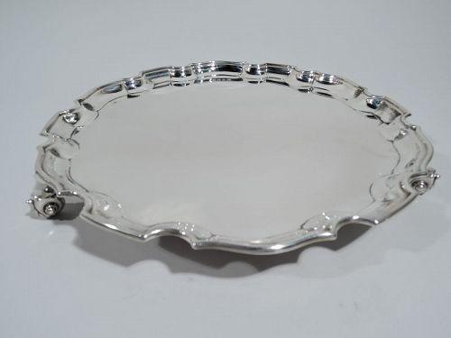Antique English Georgian Sterling Silver Piecrust Salver Tray 1932