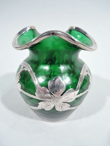 Loetz Art Nouveau Green Quilted Silver Overlay Bud Vase by La Pierre