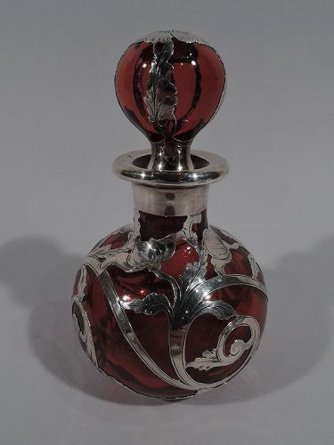 Beautiful Antique Gorham Classical Red Silver Overlay Perfume