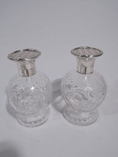 Pair of Antique English Sterling Silver, Pink Gold & Crystal Perfumes