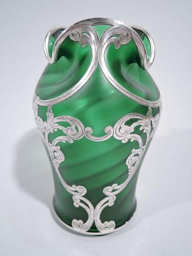 Loetz Art Nouveau Green Silver Overlay Vase