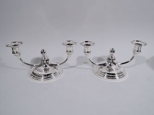 Pair of Tiffany Art Deco Sterling Silver Low 2-Light Candelabra C 1945