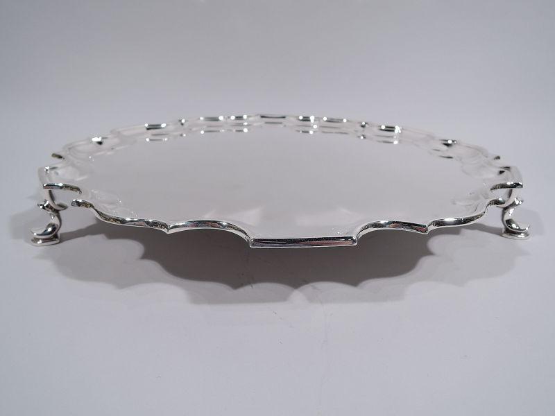 Traditional English Georgian Sterling Silver Piecrust Salver Tray 1937