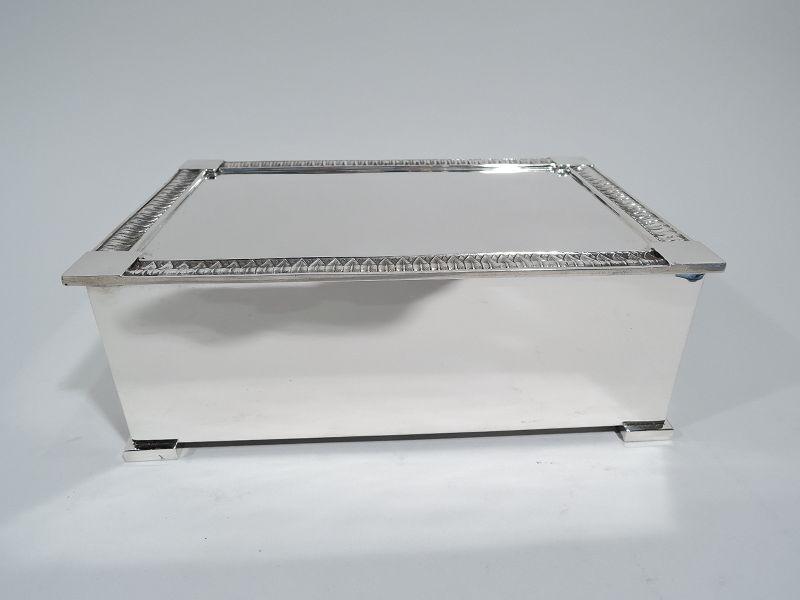 Tiffany American Modern Classical Sterling Silver Cigar Box