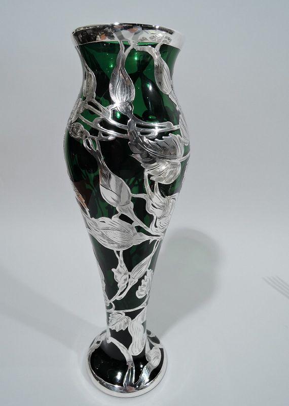 La Pierre Art Nouveau Green Silver Overlay Rose Vase