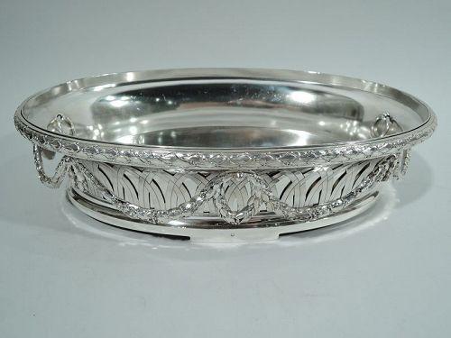 Antique French Neoclassical Silver Jardiniere Centerpiece C 1890